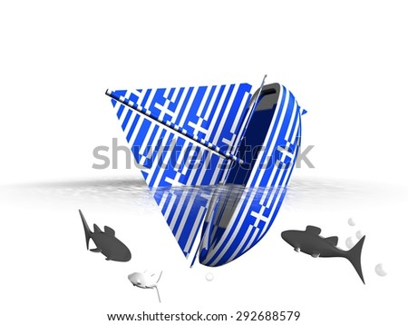 Sinking greece boat - Grexit - stock photo