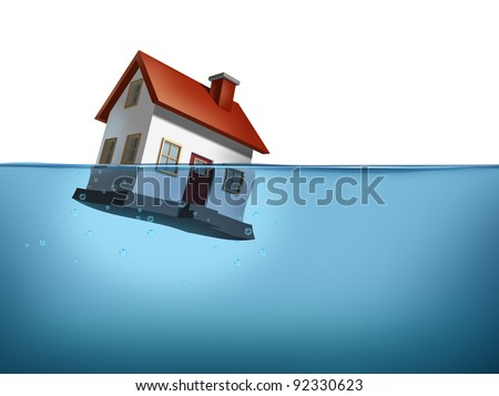 Sinking home and housing crisis with a house in the water on white showing the real estate housing concept of the challenges of home ownership and the business of mortgage rates payments. - stock photo