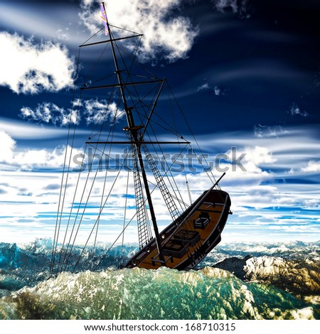 Sinking pirate brigantine on stormy seas - stock photo