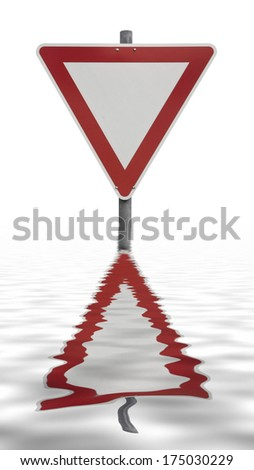 sinking priority traffic sign on reflective water surface in white back - stock photo