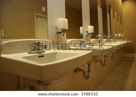 Sinks in a public bathroom