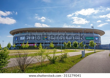 Sinsheim, Germany - May 4, 2014: Rhein-Neckar Arena - the stadium was site of the soccer world cup 2006 for group matches. - stock photo