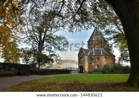 Sint-nicolaaschapel or Valkhofchapel in Nijmegen, Netherlands - built on the remainings of an roman palace chapel. Part of old Roman Ruins aged over 2000 years - stock photo