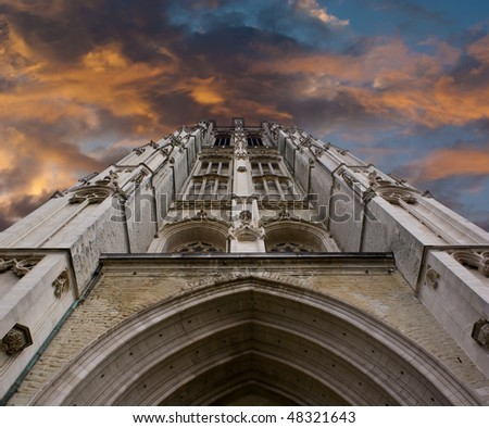 Sint-Rombouts Cathedral Clock Tower in Mechelen, Belgium. - stock photo