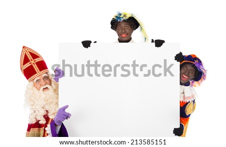 Sinterklaas and Black Pete with placard. isolated on white background. Dutch character of Santa Claus - stock photo