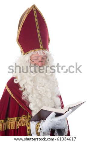 Sinterklaas and his book of children's names - stock photo