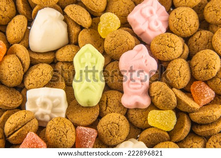 Sinterklaas background with pepernoten and sweets for dutch sinterklaasfeest holiday event on december 5th - stock photo