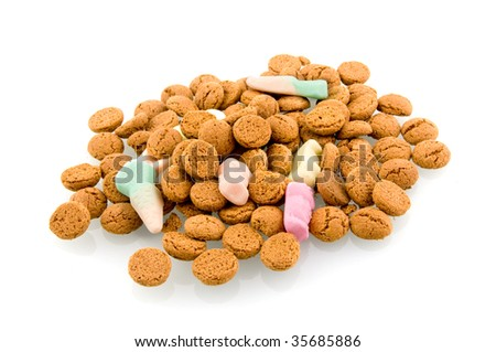 Sinterklaas candy in Holland isolated on white background - stock photo