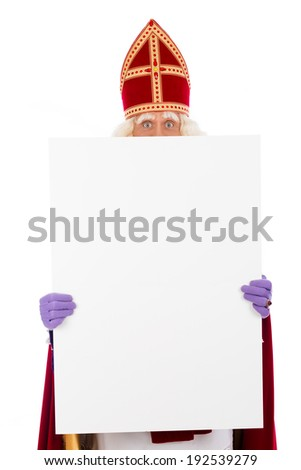 Sinterklaas holding  blank card. isolated on white background. Dutch character of Santa Claus - stock photo