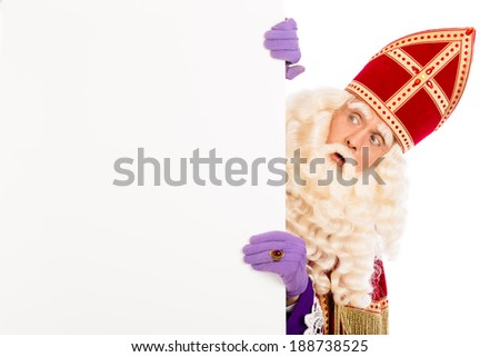 Sinterklaas looking on advertisement. isolated on white background. Dutch character of Santa Claus - stock photo