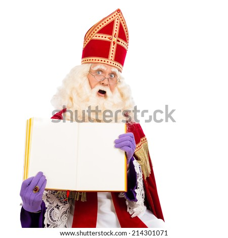 Sinterklaas with book. isolated on white background. Dutch character of Santa Claus - stock photo