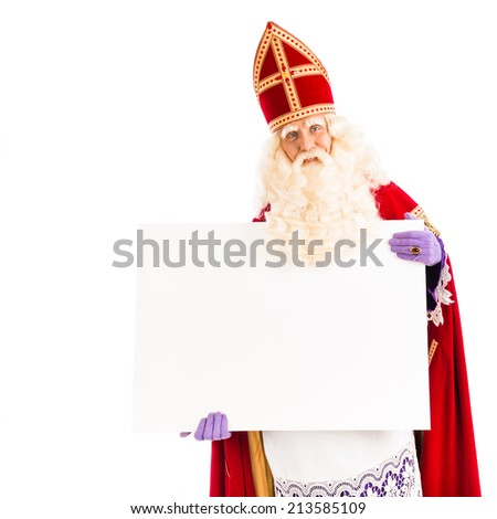 Sinterklaas with empty card. isolated on white background. Dutch character of Santa Claus - stock photo