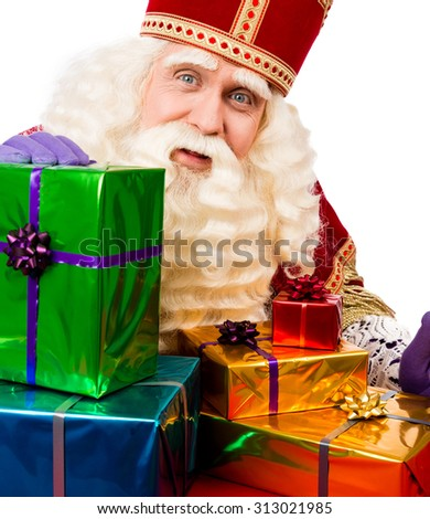 Sinterklaas with gifts . typical Dutch characterof st.Nicolaas and Zwarte Piet