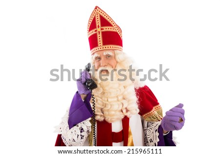 Sinterklaas with old vintage telephone. isolated on white background. Dutch character of Santa Claus - stock photo