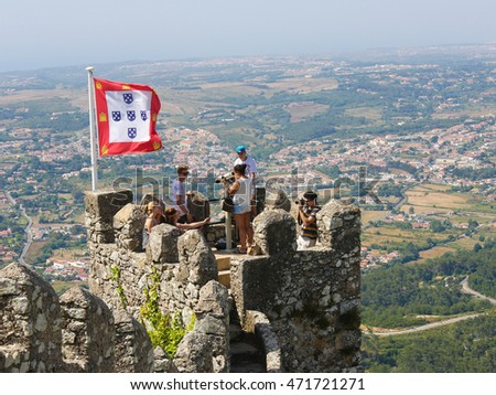 SINTRA, PORTUGAL - JULY 19, 2016: The Castle of the Moors (Castelo dos Mouros) is a hilltop medieval castle located in Sintra, Lisbon district, Portugal.