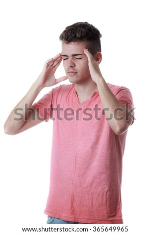 Sinus pain, sinus pressure, sinusitis. Sad man holding his head because sinus pain - stock photo