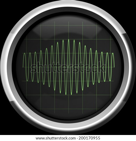 Sinusoidal signal with amplitude modulation (AM) on the oscilloscope screen in green tones, background - stock photo