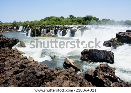 Sioma Falls in the Zambezi River, Zambia, Africa - stock photo