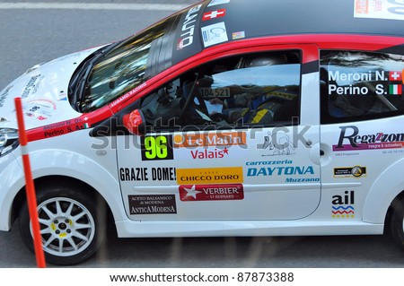 SION, SWITZERLAND - OCTOBER 30: Nicolas Meroni of the Lugano Racing Team in Renault Twingo in the International Rally of the Valais : October 30, 2011 in Sion Switzerland