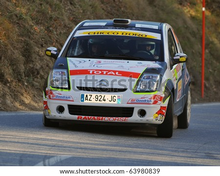SION, SWITZERLAND - OCTOBER 28: Team Scuderia Zero4 Piu on Day 1, Stage 1 of the International Rally of the Valais in a Citroen C2: October 28, 2010 in Sion Switzerland