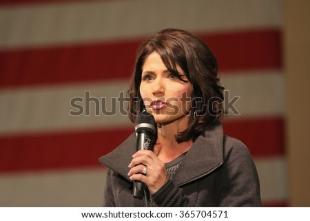 SIOUX CENTER, IOWA - JANUARY 16, 2016:  U.S. Representative Kristi Noem speaks at a Republican political rally in Iowa.  Noem is the congresswoman from South Dakota. - stock photo