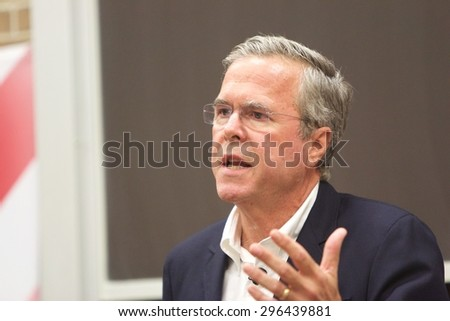 SIOUX CITY, IOWA - JULY 13, 2015:  Presidential Candidate, Jeb Bush, speaks at a public gathering in Sioux City, IA.   - stock photo