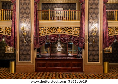 SIOUX CITY, IOWA - OCTOBER 15: Lobby of the Orpheum Theatre (1927) on Pierce Street on October 26, 2015 in Sioux City, Iowa - stock photo
