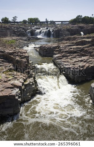 Sioux Falls Waterfall on the Big Sioux River, Sioux Falls, South Dakota - stock photo
