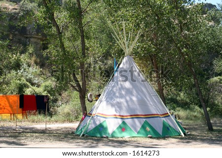 Sioux tipi in the Yellowstone Valley of Montana - stock photo