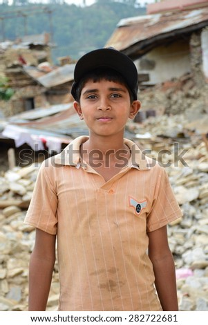 Sipaghat bazar ,Kavreplanchok district ,Nepal - May 13 2015 :Depress boy after earthquake disaster