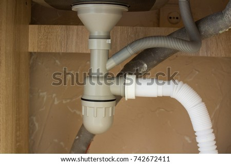 Wonderful Siphon Pipes Under The Kitchen Sink In The Kitchen