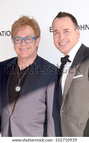 Sir Elton John and David Furnish at the 18th Annual Elton John AIDS Foundation Oscar Viewing Party, Pacific Design Center, West Hollywood, CA. 03-07-10 - stock photo