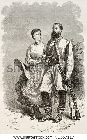 Sir Samuel White Baker and his wife, old engraved portrait (British explorer). Created by Neuville, published on Le Tour du Monde, Paris, 1867 - stock photo