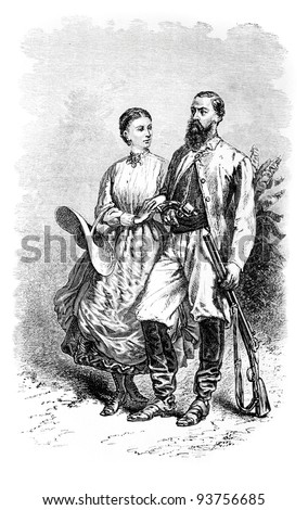 Sir Samuel White Baker and his wife, old engraved portrait (British explorer). Created by Neuville, published on Travel to upper reaches of the Nile and exploration of its sources, Moscow, 1868 - stock photo