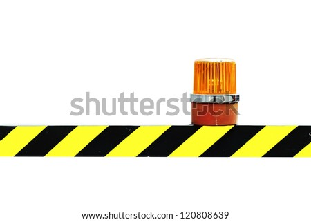 Siren on the yellow and black warning sign - stock photo