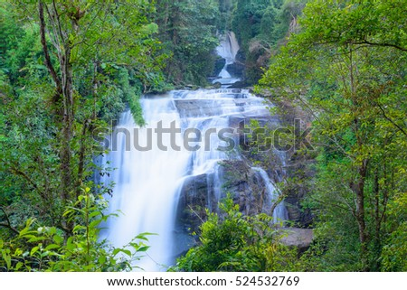 Sirithan waterfall in Doi Inthanon national park, Chiang Mai, Thailand One of the famous waterfalls of Chiang Mai.