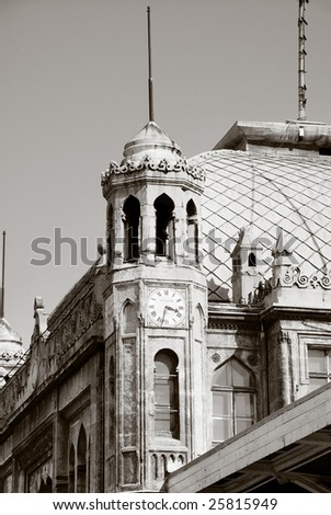 Sirkeci train station near center of Istanbul, Turkey (End point of Orient Express). Monochrome version - stock photo