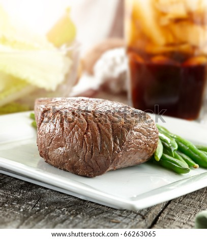 sirloin steak dinner - stock photo