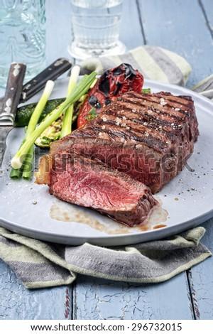 Sirloin Steak on Plate - stock photo