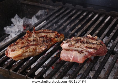 Sirloin steak prepared on the barbecue grill.  Shallow depth-of-field.