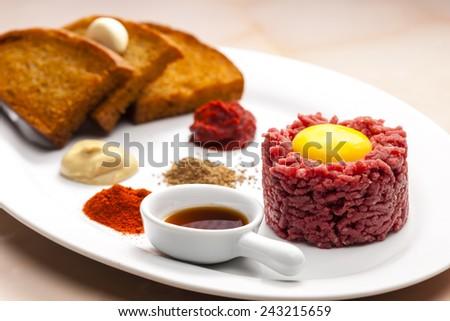 sirloin steak tartare - stock photo