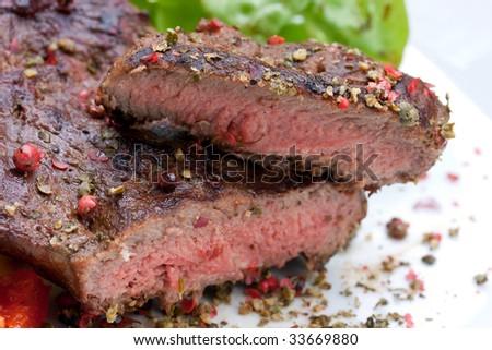 sirloin strip steak with boiled potato - stock photo