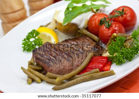 Sirloin Strip Steak with green beans,tomato,pepper