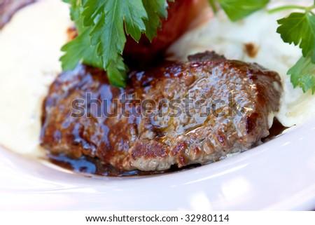 Sirloin strip Steak with vegetables and savory bechamel-sauce