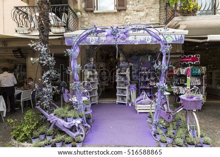 SIRMIONE, ITALY - MAY 5, 2016: Sirmione, Italy. Show-window the  shop of perfumery and spirits from a lavender. Italy takes the second place in the world on production of oil of a lavender