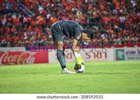 SISAKET THAILAND-AUGUST 19: T. Kawin (GK) of Muangthong UTD. in action during  Thai Premier League between Sisaket FC and SCG Muangthong united at Sri Nakhon Lamduan Stadium on August 19,2015,Thailand - stock photo