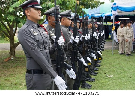 SISAKET THAILAND-August 12 : Thailand police on  August 12, 2016 Mother's Day on Phusing Sisaket Thailand .