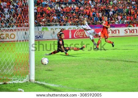SISAKET THAILAND-AUGUST 19: W. Narong (GK) of Sisaket FC. in action during  Thai Premier League between Sisaket FC and SCG Muangthong united at Sri Nakhon Lamduan Stadium on August 19,2015,Thailand - stock photo