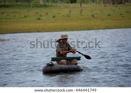 SISAKET THAILAND-July 29 : Fisherman on July 29, 2016 The lifestyle of the Northeast Thailand .