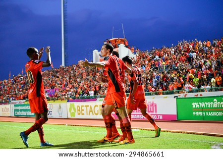 SISAKET THAILAND-JULY 4: Players of Sisaket FC celebrate during  Thai Premier League between Sisaket FC and Chainat Hornbill FC at Sri Nakhon Lamduan Stadium on July 4,2015,Thailand - stock photo